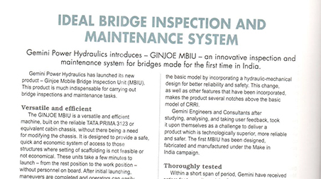 Ideal Bridge Inspection and maintenance system